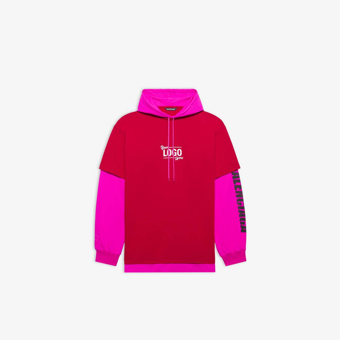Display zoomed version of your logo here hooded t-shirt 1