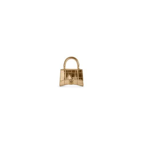 hourglass mini-handtasche mit kette aus metallisiertem kalbsleder mit krokodilprägung