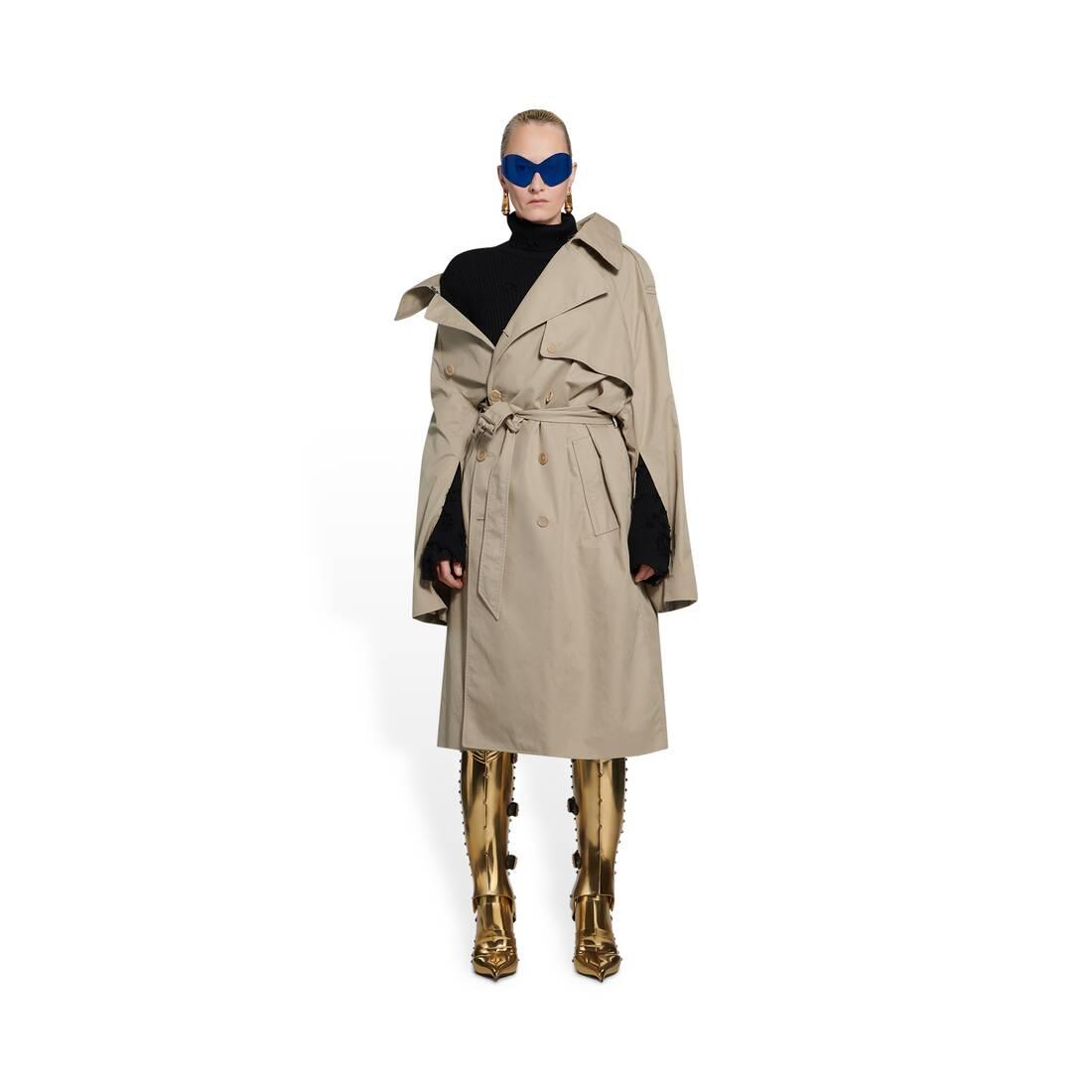 Display zoomed version of off-shoulder trench coat 3