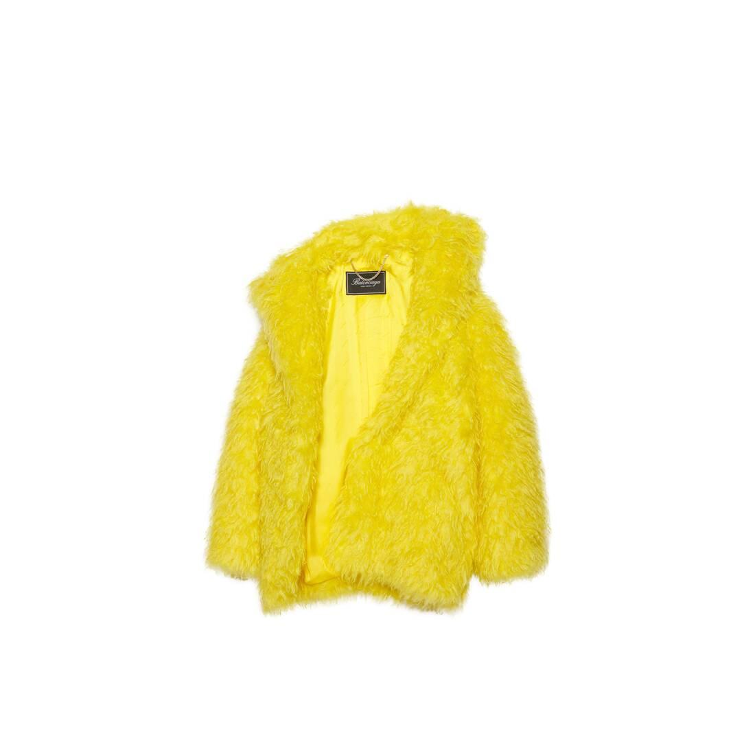 Display zoomed version of off shoulder fake fur jacket 1
