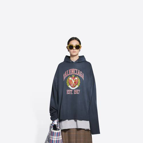 college hooded long sleeve t-shirt