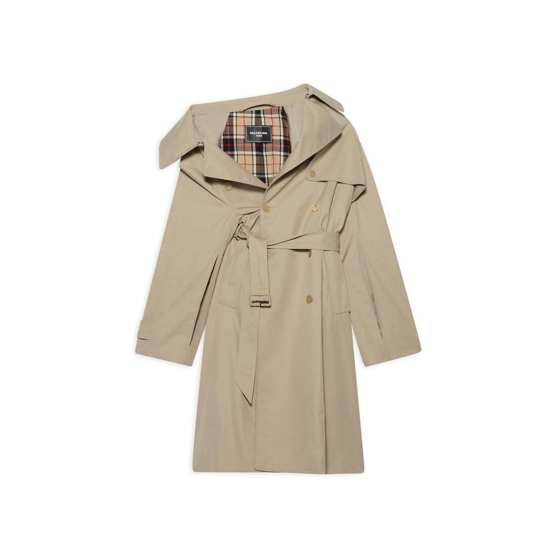 Display zoomed version of off-shoulder trench coat 1