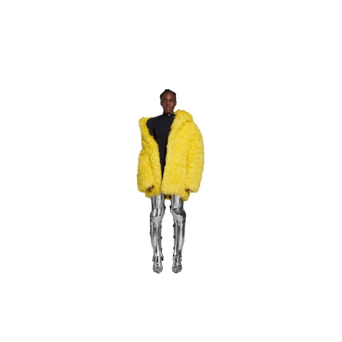 Display zoomed version of off shoulder fake fur jacket 3