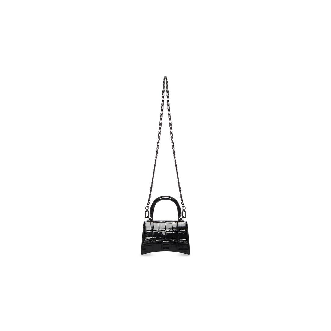 Display zoomed version of hourglass mini top handle bag with chain 3