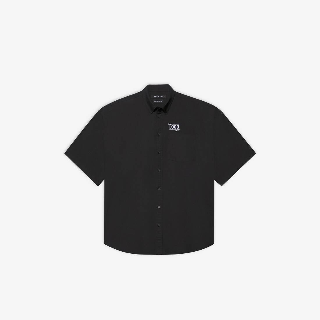 Display zoomed version of one size your logo here short sleeve shirt 1