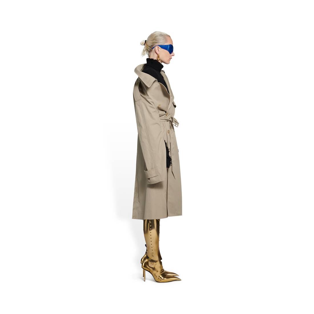 Display zoomed version of off-shoulder trench coat 4