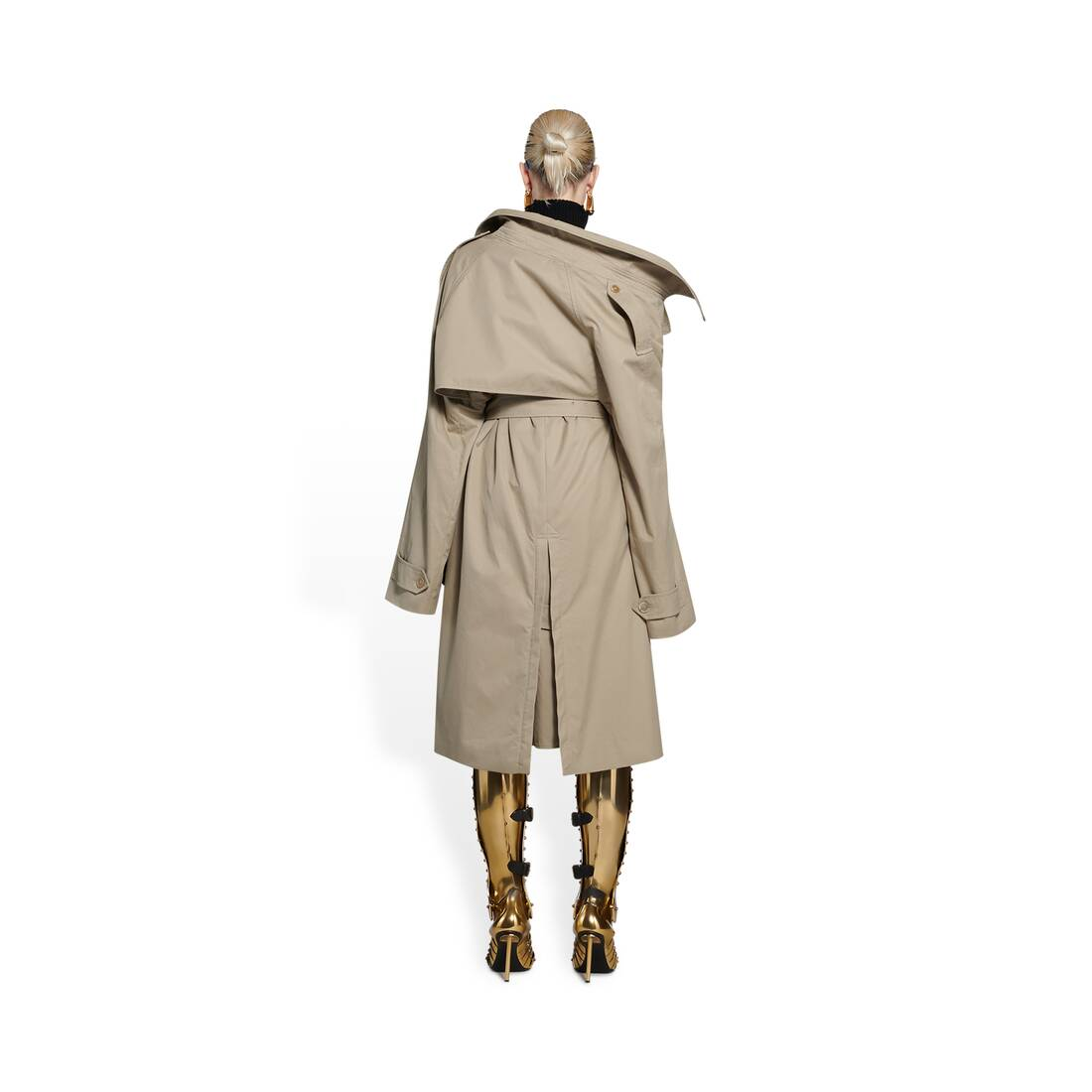 Display zoomed version of off-shoulder trench coat 5