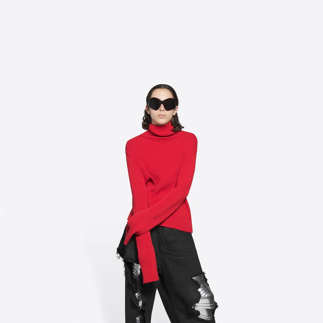 Display zoomed version of free washed out fitted turtleneck  3