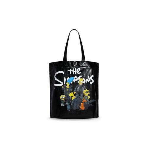 the simpsons tm & © 20th television shopper medium shoulder tote bag in paper calfskin