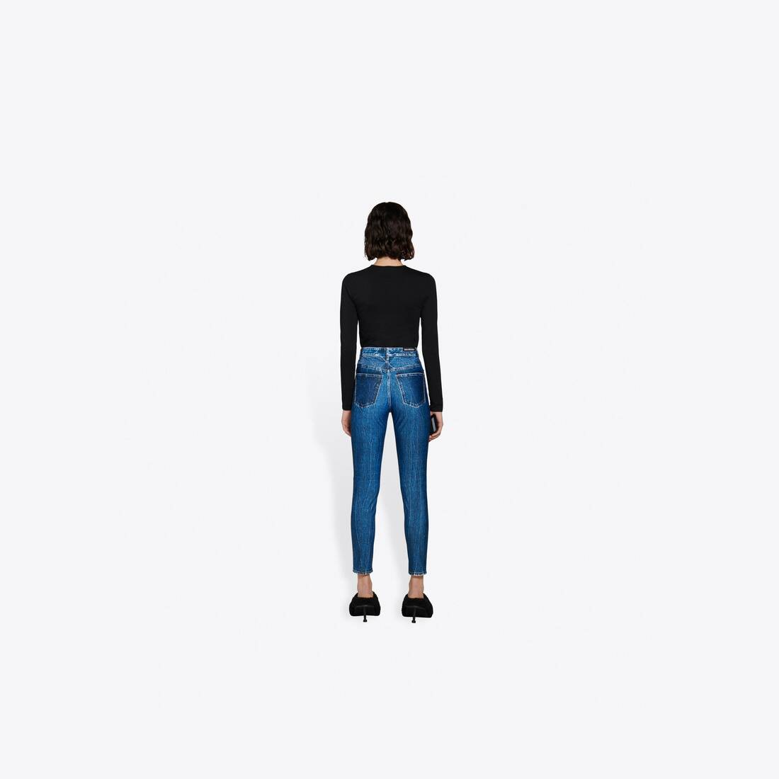 Display zoomed version of trompe-l'oeil denim leggings 5