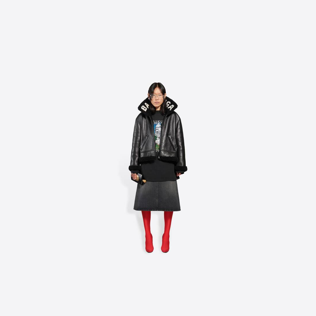 Display zoomed version of cocoon shearling jacket 3