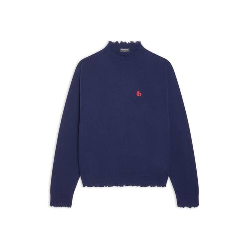 double b raw highneck sweater