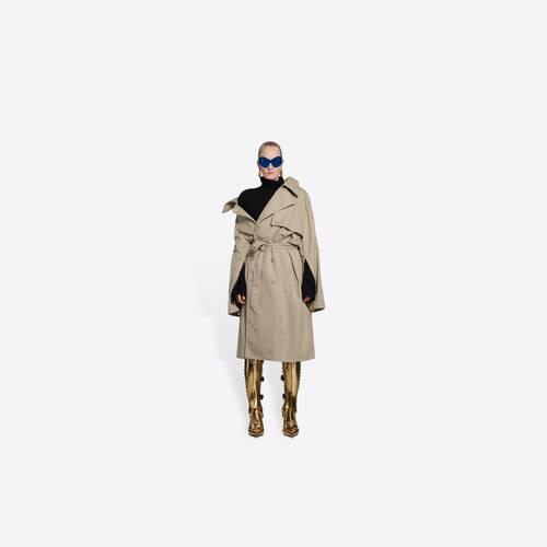 off-shoulder trench coat