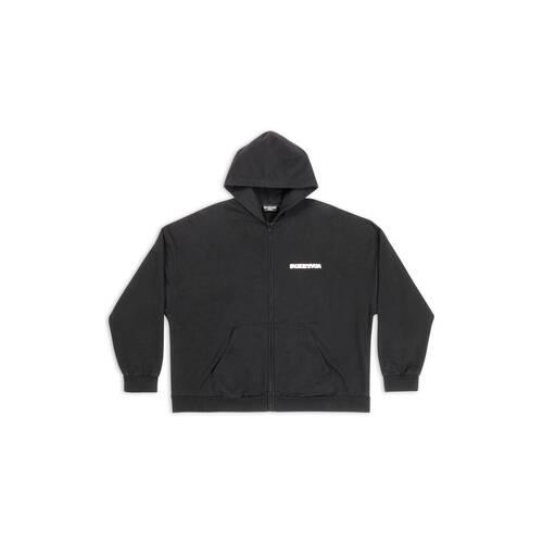turn wide fit zip-up hoodie