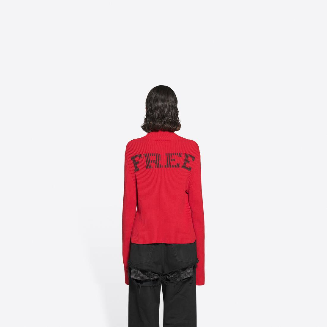 Display zoomed version of free washed out fitted turtleneck  5