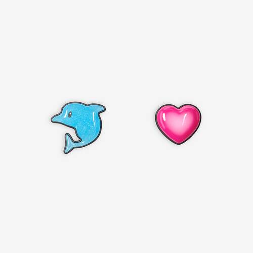 sticker dolphin and heart earrings