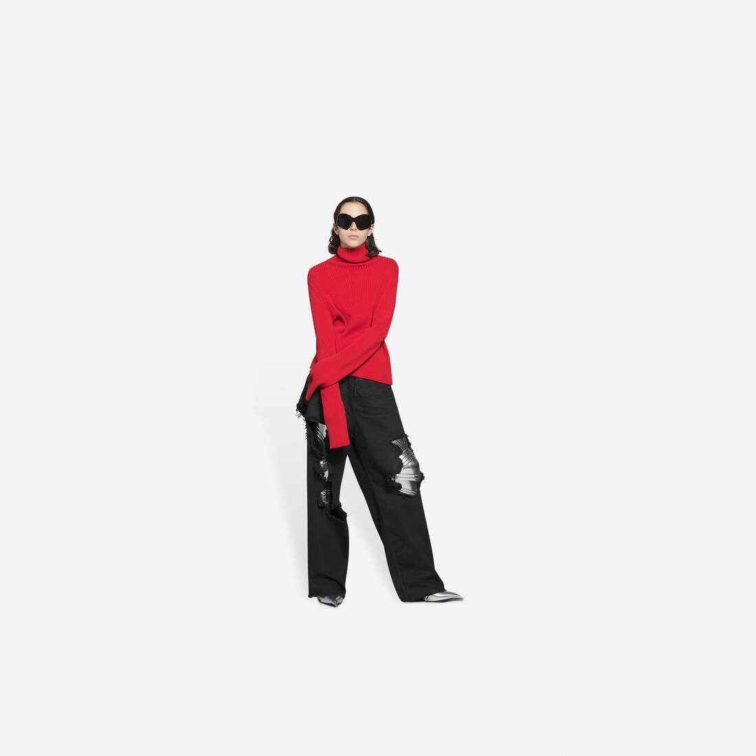 Display zoomed version of free washed out fitted turtleneck  6