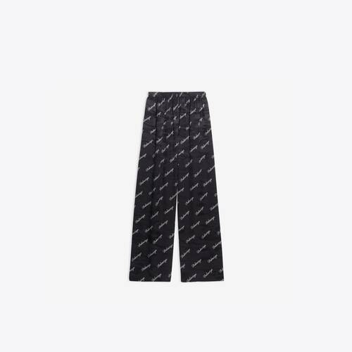 allover script logo wide leg pants